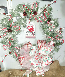 """Snow Frosted 18"""" Candy Cane Wreath with Wired Ribbon Christmas Winter Holiday"""