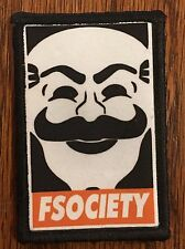 FSociety Mr Robot Morale Patch Tactical ARMY Hook Military USA Badge Flag