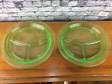 Ctr Green Depression Glass 3 Part Divided Plate Retro Kitchen Glassware 10 3/8""