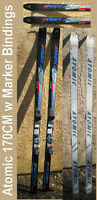 snow skis Atomic 170cm w/ Marker Brand  adjustable ski bindings Classic