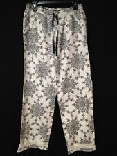 VS Victoria's Secret PINK Sleep Pajama Pants Flannel Medium White Black Lace