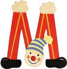 Lettre prenom de porte clown en bois M rouge, décoration de porte **