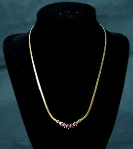 """Ruby Diamond Style Necklace 17"""" 14K Solid Gold, FREE SHIPPING!  Reduced 35%"""