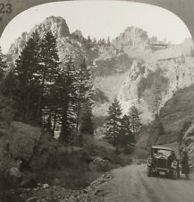 Keystone Stereoview of a car on Road, North Cheyenne Canyon, Manitou, CO # 29166