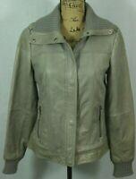 Women's Eddie Bauer 100% Lamb Leather Jacket Size M Soft Gray Bomber Jacket