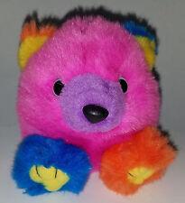 "Cosmo Bear Swibco Bean Bag Plush Puffkins 1994 Multicolor Pink Blue Orange 4.5"""