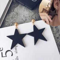 1 Pair Women Dangle Earrings Wood Star Vintage Lady Girl Fashion Earring Jewelry