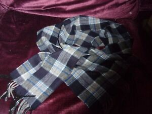 100% lambswool scarf checks worn once only blues grey.
