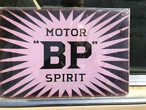 BP Motor Spirit, Petrol, Vintage Garage Old Oil, Medium Metal Tin Sign