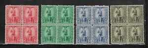 MNH US War Savings Stamp Set Minute Man Issues Sc# WS7 WS8 WS9 WS10 Blocks of 4