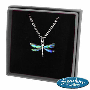 Dragonfly Necklace Paua Abalone Shell Pendant Womens Silver Jewellery Gift Boxed