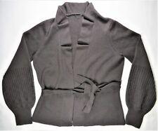 Elie Tahari Womens Cardigan Sweater L Brown Merino Wool Knit Open-Front Draped