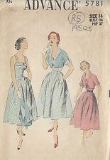 "1950s Vintage Sewing Pattern B34"" DRESS & BOLERO JACKET (R5)"