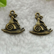 Free Ship 88 pcs bronze plated snail girl charms 24x21mm #264