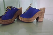 Sporty Blues Luiza Barcelos Canvas Leather Platform Qi13 G High Pump Sz 9M
