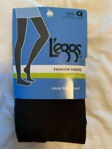 NEW LEGGS Fashion Tights Size Q Brown Black Textured Control Top Chic Tie Socks