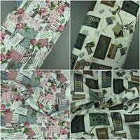 100% Cotton Fabric Linen Patchwork Butterfly Sewing Print extra Wide 57""