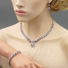 White Gold Plated Amethyst Cubic Zirconia Necklace Bracelet Earrings Jewelry Set