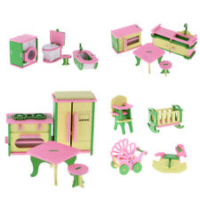 Lot 16Pcs Wooden Doll House Miniature Furniture Kids Pretend Play Toys Gifts