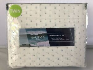 Nautica Home 3-Piece Twin Sheet Set Star Struck White W/ Blue Anchor Printed