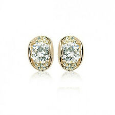 GORGEOUS 18K ROSE GOLD PLATED GENUINE CLEAR CZ & AUSTRIAN CRYSTAL STUD EARRINGS