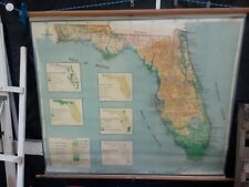 "Vintage A.J. Nystrom Pull Down Classroom MAP of FLORIDA USA Wall Map  62"" X 54"""