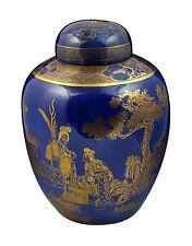 18thC Antique Chinese Porcelain Monochrome Blue Ginger Jar w/ Double Ring Mark
