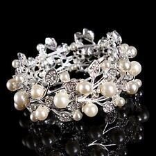 Vintage Pearl Wedding Bangle Sliver Sparkling Diamante Bridal Crystal Bracelet