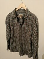 Woolrich Plaid Green, Tan and Blue Long Sleeve Button Down Shirt Mens XL