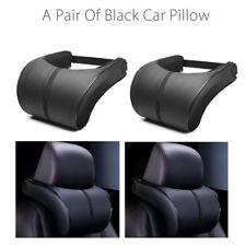 2PCS Black Leather Car Pillow Auto Memory Foam Seat Neck A Pair Headrest Cushion