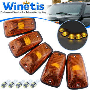 5x Cab Marker Roof Running Light Amber Housing w/ LED for GMC/Chevy C1500-3500