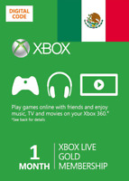 1 month Xbox One 360 Live Gold Membership Digital Codes (Mexico Only)