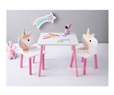 KIDS CHILDREN UNICORN TABLE AND CHAIRS SET KIDS STUDY ROOM BED ROOM FURNITURE