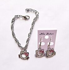 Hello Kitty Rhinestone Earrings And Bracelet Set With Free Organza Gift Bag New