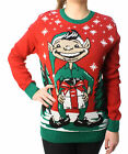 Ugly Christmas Sweater Plus Size Women's Elf Dick In A Box Pullover Sweater-S