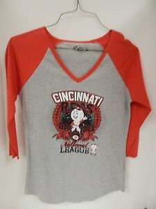 Cincinnati Reds Womens Grey/Red GIII Sample 3/4 Length Sleeves Tshirt -M