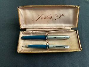 Vintage PARKER 51 Blue Fountain Pen Pencil Set with box