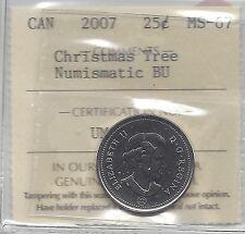 **2007 X-mas Tree**, ICCS Graded Canadian, 25 Cent, **MS-67 NBU**