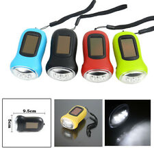 Mini LED Hand Crank Dynamo Solar Power Rechargeable Carabiner Camping Flashlight