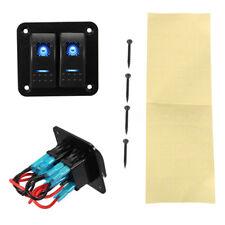 2 Gang Dual Blue LED Light Bar Rocker Switches Panel System for 12V/24V Auto Car