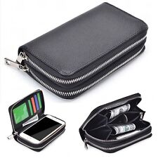 (Black)Double Zipper Premium PU Leather Wallet Case Cover For Samsung Models