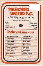 1978/9 Man Utd V Preston ne programma di riserva