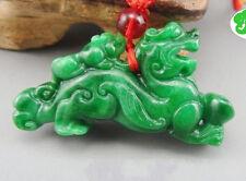 "green Jade pendant ""mother / child pi yao"" lucky mascot"