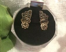 Antique Art Deco 1940's Pair of STERLING SILVER & MARCASITE Screw Back Earrings