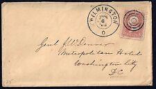 US 1863 DENVER HISTORY WLMINGTON DEL CIVIL WAR TIME COVER NEAT FANCY TARGET CANC