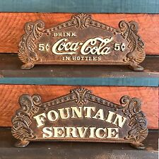 Dual Sided Cast Iron COCA COLA FOUNTAIN SERVICE REGISTER SIGN, Antique Finish