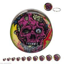 """PAIR-Zombie Steel Screw On Ear Plugs 12mm/1/2"""" Gauge Body Jewelry"""