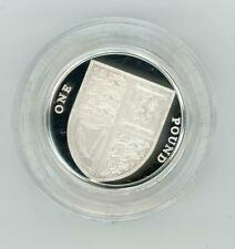 GB 2008 UK Royal Shield of Arms £1 Piedfort Silver Proof Coin in Case with COA