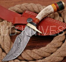 8 INCH UD CUSTOM DAMASCUS STEEL HUNTER KNIFE Stag/ANTLER  HANDLE B6-11538