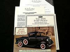 PAPERWORK SET WITH BROCHURE - DANBURY MINT 1935 FORD  50-830 PICKUP TRUCK